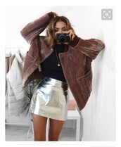 skirt,silver,red,jacket,metallic