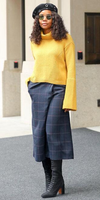 sweater turtleneck turtleneck sweater yellow yellow sweater pants fall outfits streetstyle gabrielle union