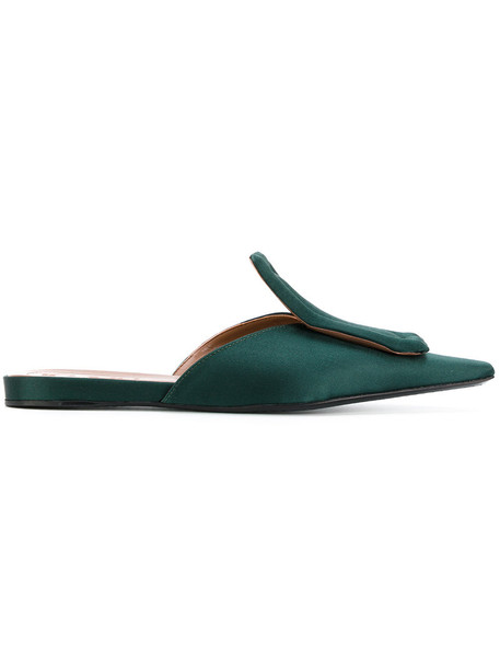 MARNI women mules leather silk green shoes