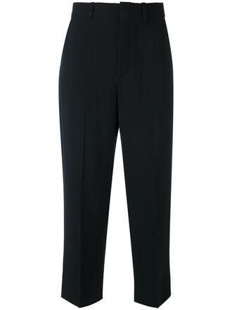 cropped women cotton black silk pants