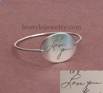 jewels bangles actual signature bangle signature name bracelet engraved handwriting bracelet silver jewelry christmas gift chrismas gifts for couples gift ideas luxury fashion fine jewelry