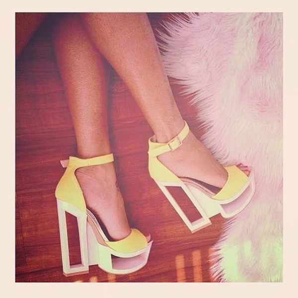 shoes heels block heels colorful cute yellow neon neon yellow heels red high heels fashion redheels boots dress yellow heels wedges high heels high heel sandals i want this beauty help need these shoes ! cute high heels high heels lovely