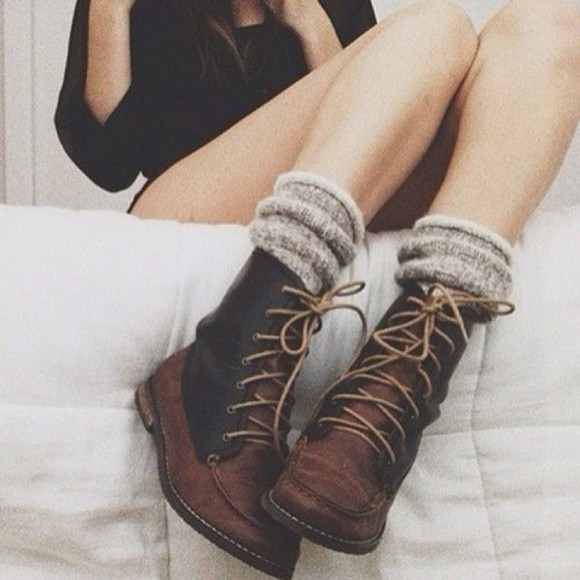shoes boots grunge cute chunky boots brown goth hippie