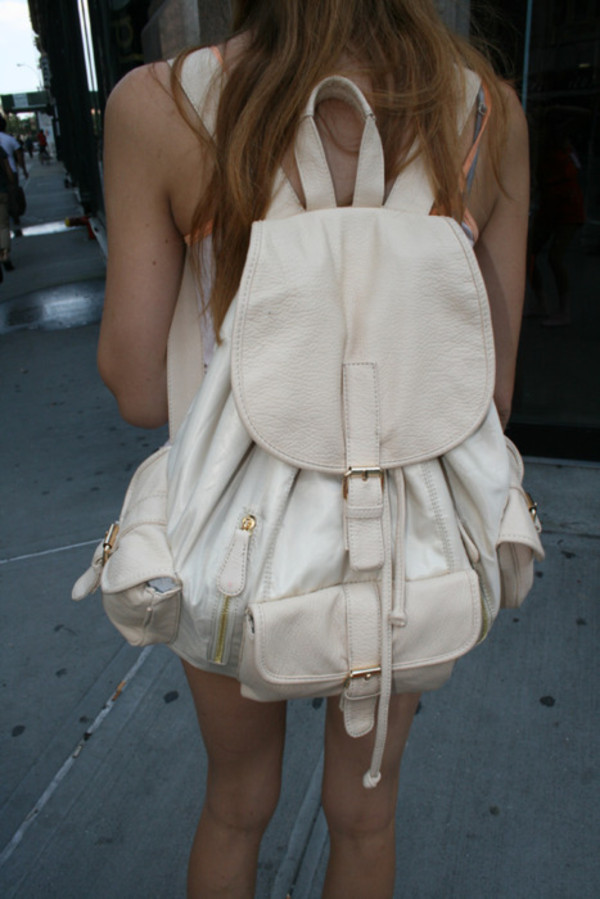 bag backpack white beige gold nude cream leather vintage hipster