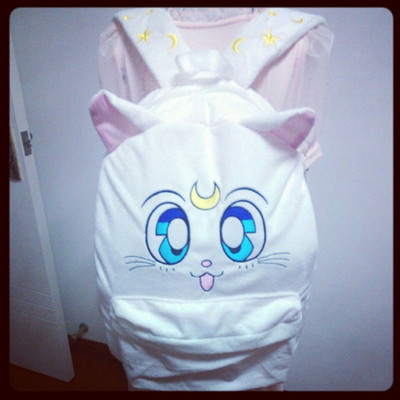 a4cbb3a49bb4 Sailor moon cat Luna stars embroidered backpack · Harajuku fashion ...