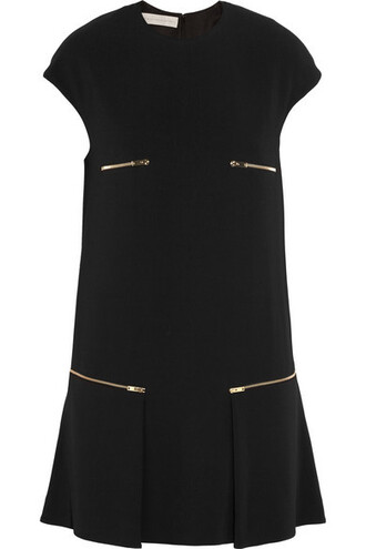 dress mini dress mini pleated zip embellished black