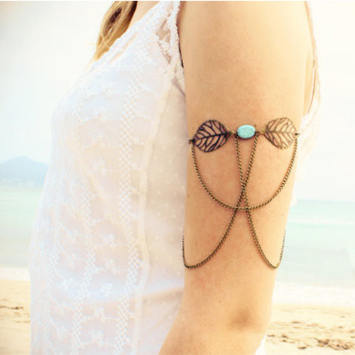 [grxjy51201247]Fashion Hollow Out Leaves Oval Turquoise Tassels Arm Chain