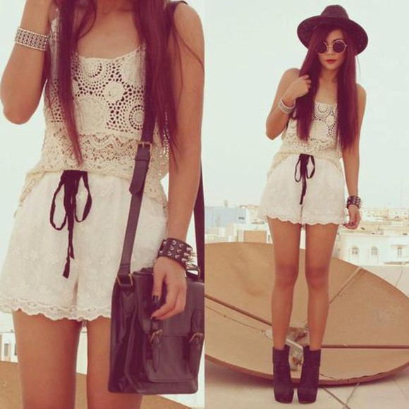 shorts blouse lace shirt summer outfits hat bag shoe heels sunglasses