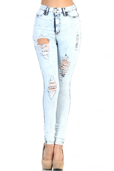 DESTROYED HIGH WAISTED JEANS - LIGHT ACID WASH
