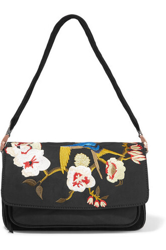 embroidered shell bag shoulder bag suede black