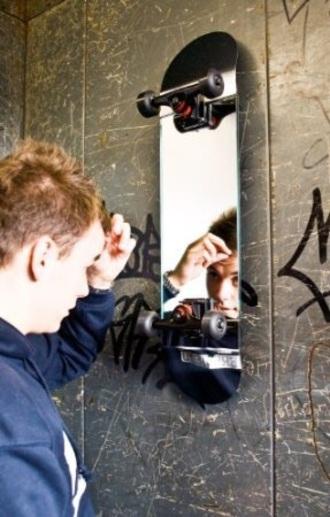 home accessory mirror skateboard wall decor