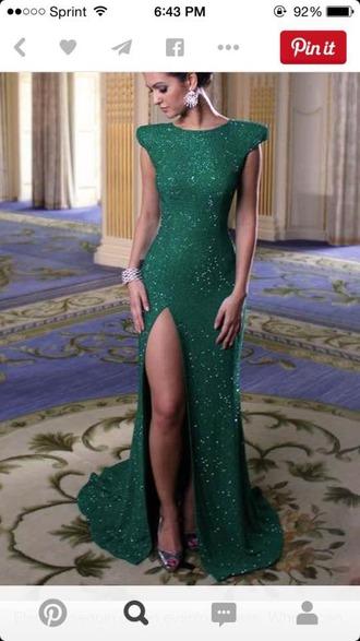 dress green prom dress sparkly dress elegant dress long dress slit dress