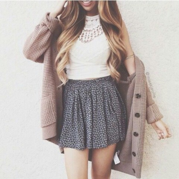Cardigan: crop tops, lace, lace top, crochet, floral, skater skirt ...