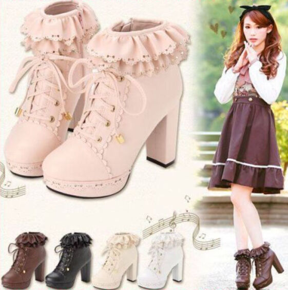 Hot lolita women's sweet girls lace platform block heel lace up ankle boot pumps