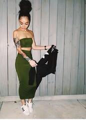 dress,tubetop,skirt,two-piece,set,olive green