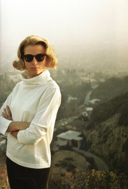 top grace kelly actress long sleeves turtleneck white top sunglasses hairstyles retro