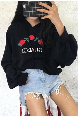 sweater gucci floral black fashion style trendy cool long sleeves champion oversized casual embroidered roses oversized sweater hoodie kylie jenner jumper pretty comfy