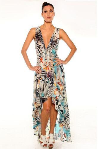 dress parides print maxi dress high low dress bikiniluxe