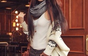 sweater,outerwear,white,cream,tribal designs,grey,scarf,infinity scarf,tank top,jacket,cardigan