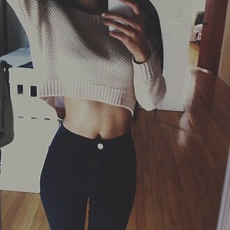 jeans trendy sweater cropped sweater tan sweater pants skinny pants skinny jeans black pants black jeans cropped sweater weather winter sweater winter outfits cute style outfit skinny high waisted black nice short sweater wool sweater cute sweater