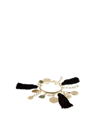 tassel charm bracelet gold black jewels