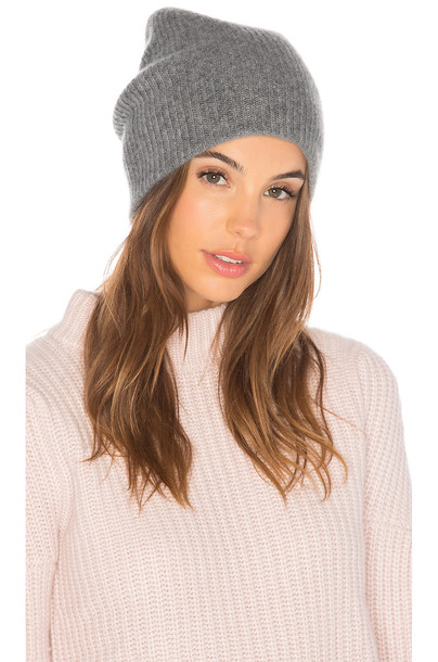 White + Warren Plush Rib Beanie in gray