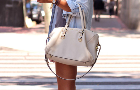 bag white leather handbag