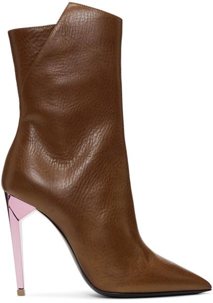 Saint Laurent heel metallic brown shoes