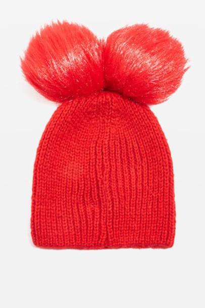 Topshop hat beanie pom pom beanie red