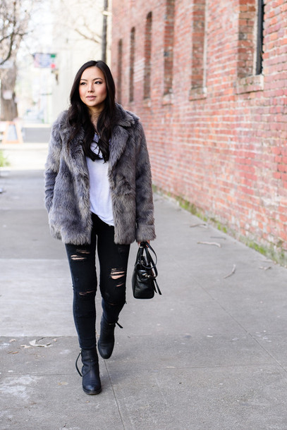 the fancy pants report blogger t-shirt ripped jeans black jeans grey coat winter outfits black ripped jeans coat grey black black coat fur black coat faux leather coat fur coat faux fur coat