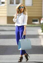 pants,blue pants,shirt,white shirt,bag,blue bag,baby blue,sandals,black sandals,sunglasses,mirrored sunglasses,aviator sunglasses,summer outfits
