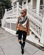 sweater,knitted sweater,tunic,oversized sweater,jeans,skinny jeans,ripped jeans,black jeans,ankle boots,shoulder bag,striped scarf,wool,aviator sunglasses