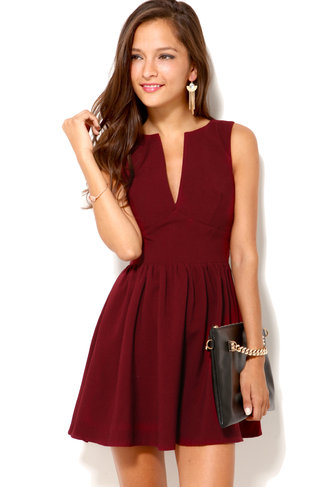 Deep Cut Sleeveless Mini Dress in Oxblood on Wanelo