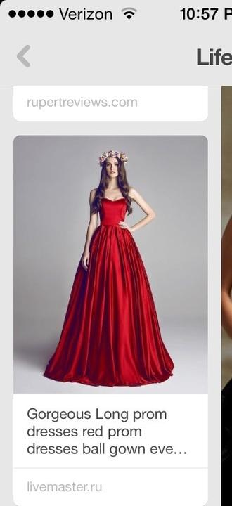 dress red dress long prom dress strapless dresses