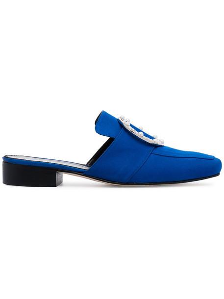 Dorateymur women embellished loafers leather blue satin shoes