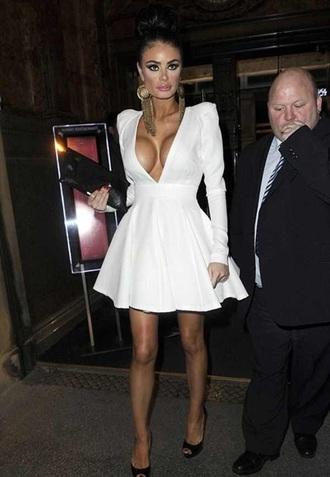 deep v neck dress in white