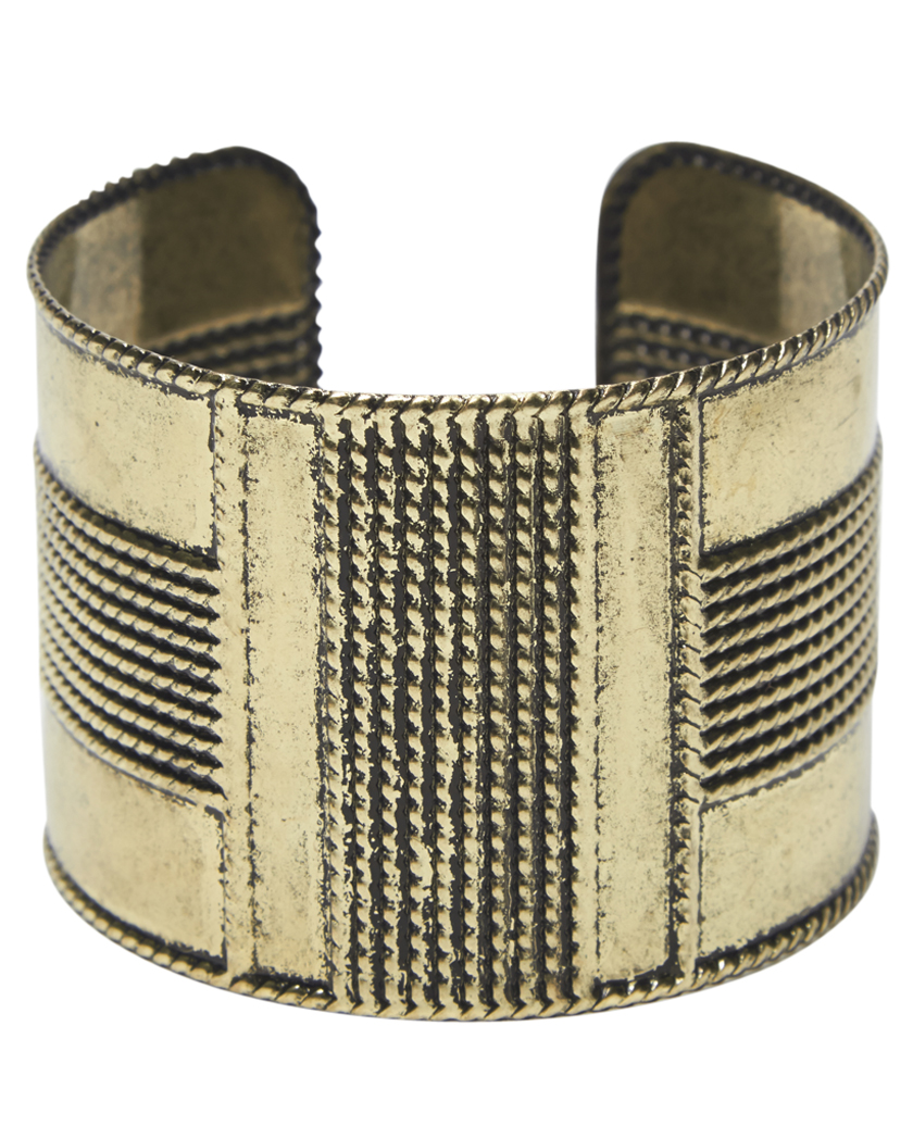 Vintage Textured Metal Cuff Bracelet | Wet Seal