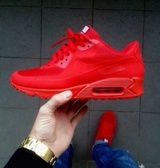 shoes red nike shoes nike nike air nike sneakers nike air max 90 all red mens shoes kids shoes american flag