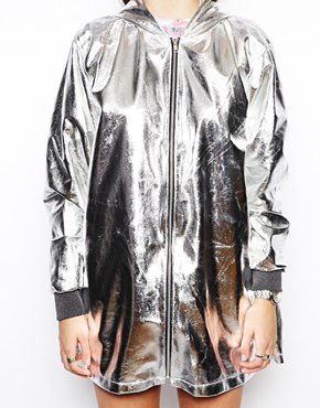 The Ragged Priest Hologram Metalic Hooded Rain Coat at asos.com