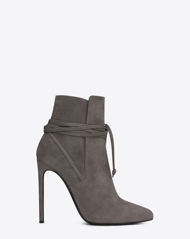 Saint Laurent Paris 110 Laced Ankle Boot In Earth Suede | ysl.com