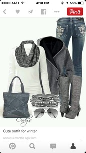 long sleeve white shirt t,jeans,scarf,sunglasses,bag,jewels,jacket