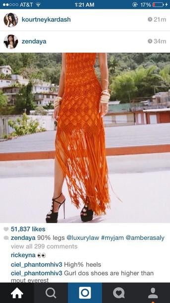 dress orange dress fringed dress high heels zendaya cute dress and boots