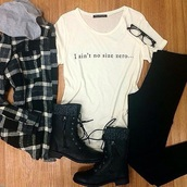 shoes,flannel shirt,combat boots,jeans,shirt,hair accessory,home accessory,coat,plaid jacket,t-shirt,top,flannel,hoodie,boots,outdit,outfit,outfit idea,outfit set,black jeans,glasses,flannel hoodie