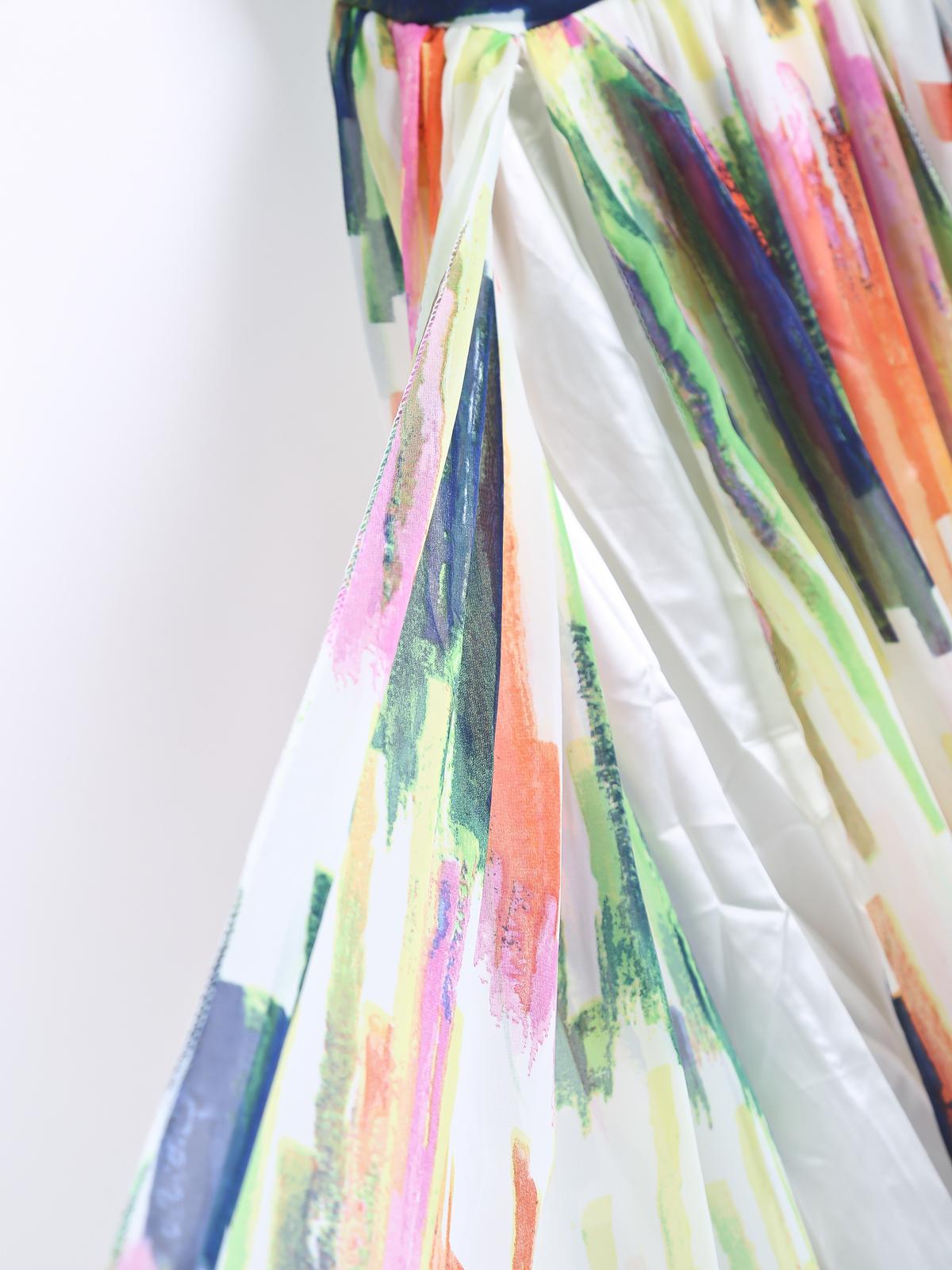 Multicolor Strapless Graffiti Print Chiffon Dress - Sheinside.com