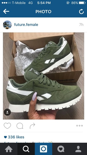 shoes olive green reebok sneakers