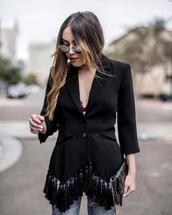 jacket,fringes,tumblr,blazer,black blazer,bag,black bag,clutch,sunglasses