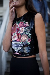 top,crop tops,embroidered,black,sequins,floral,flowers,girly,cute,shirt,beaded,gems,sparkle,blouse