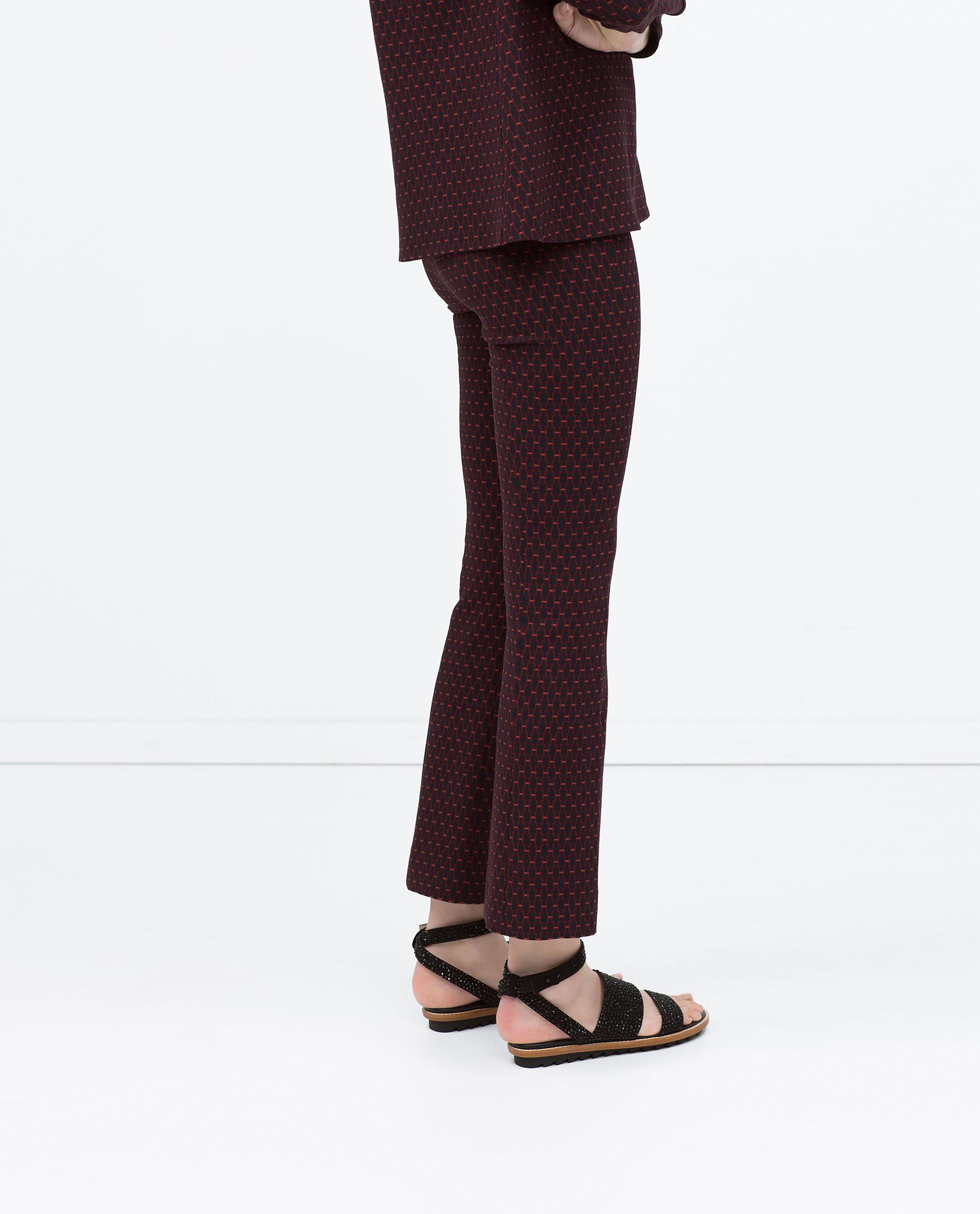 Jacquard bellbottom trousers