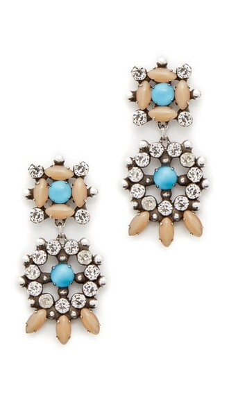 clear earrings silver nude turquoise jewels
