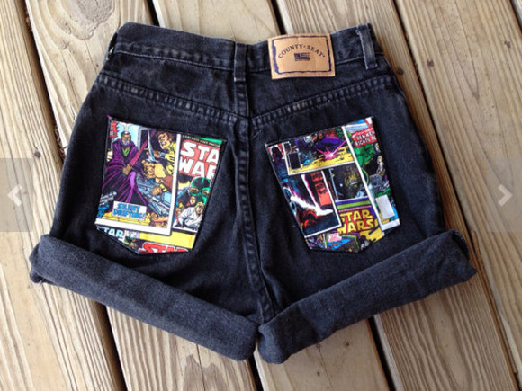 star wars jacket shorts star wars shorts High waisted shorts black high waisted shorts